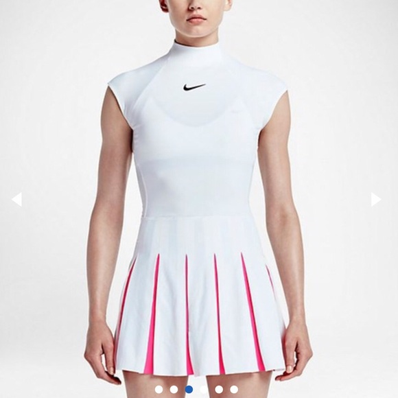 Nike Premier White Pink Tennis Dress S